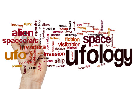 ufology: Ufology word cloud concept with alien invasion related tags Stock Photo