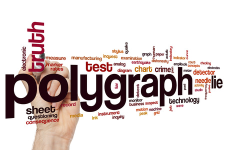 polygraph: Polygraph word cloud concept with lie truth related tags