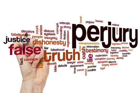 dishonesty: Perjury word cloud concept Stock Photo