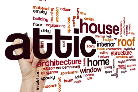 attic: Attic word cloud Stock Photo