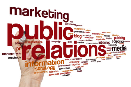 Public relations word cloud concept with marketing communication related tags