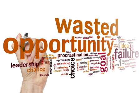 wasted: Wasted opportunity concept word cloud background