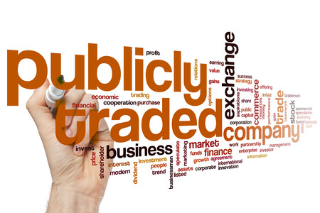 initial public offerings: Publicly traded concept word cloud background