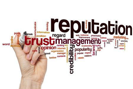 Reputatie woord wolk concept met crediblity merk gerelateerde tags
