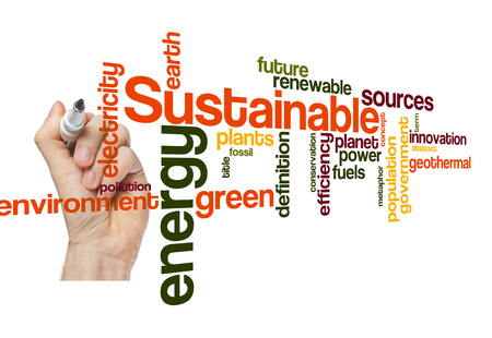 sustainable green energy concept word cloud background on white
