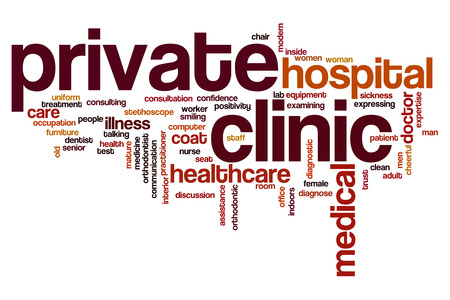 private cloud: Private clinic word cloud Stock Photo
