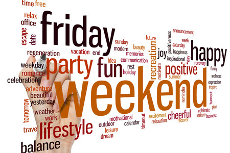 positiveness: Weekend concept word cloud background Stock Photo