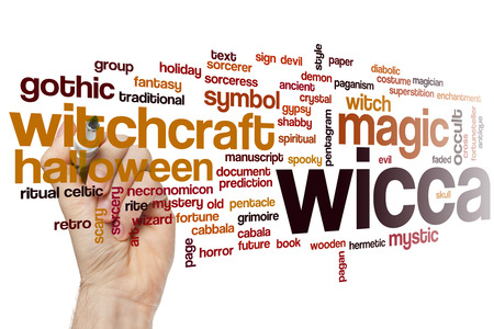 wicca: Wicca word cloud concept with witchcraft symbol related tags