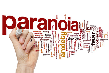 paranoid: Paranoia concept word cloud background