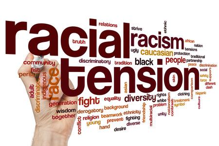 racial: Racial tension concept word cloud background