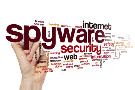 computer virus protection: Spyware word cloud