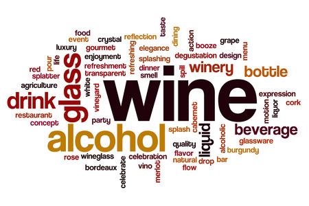 bebidas alcohÓlicas: Vino nube de palabras Foto de archivo
