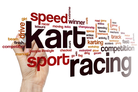 racer flag: Kart racing word cloud concept with race sport related tags