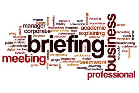 briefing: Briefing word cloud Stock Photo