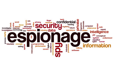 corporate espionage: Espionage word cloud Stock Photo