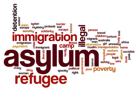 Asylum word cloud Stock Photo