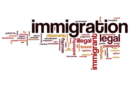 Immigration word cloud Foto de archivo