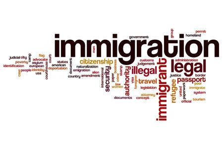 Immigration word cloud Foto de archivo