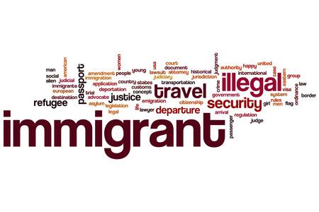 ordenanza: Inmigrantes nube de palabras Foto de archivo
