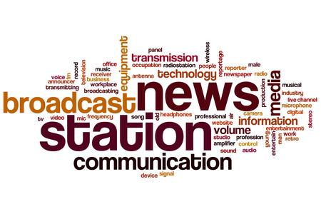 transmitting device: News station word cloud Stock Photo