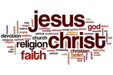 man praying: Jesus Christ word cloud