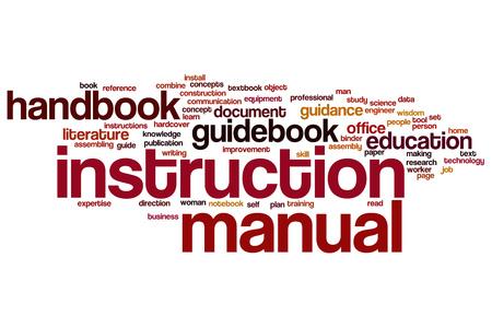 Instruction manual word cloud Foto de archivo