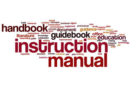 instruction manual: Instruction manual word cloud Stock Photo