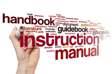 self assembly: Instruction manual word cloud Stock Photo