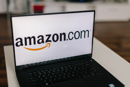 amazon com: ZAGREB - December 20 2015: Amazon on modern laptop screen. Amazon is an American electronic commerce and cloud computing company. It is the largest Internet-based retailer in the United States Editorial