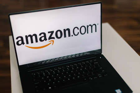 amazon com: ZAGREB, CROATIA  - DECEMBER 20 2015: Amazon on modern laptop screen. Amazon is an American electronic commerce and cloud computing company. It is the largest Internet-based retailer in the United States Editorial