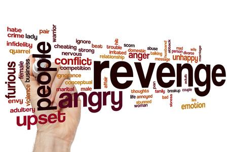 venganza: La venganza nube de palabras Foto de archivo