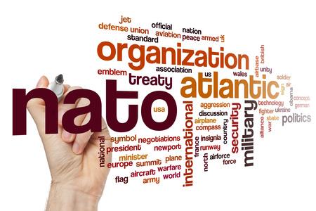 nato summit: NATO word cloud Stock Photo