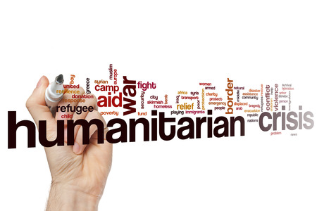 Humanitarian crisis word cloud Stock Photo