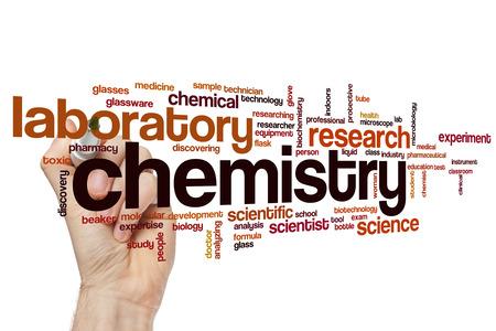 laboratorio clinico: Qu�mica nube de palabras Foto de archivo