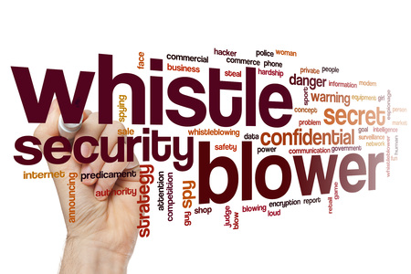 Whistle blower word cloud Imagens