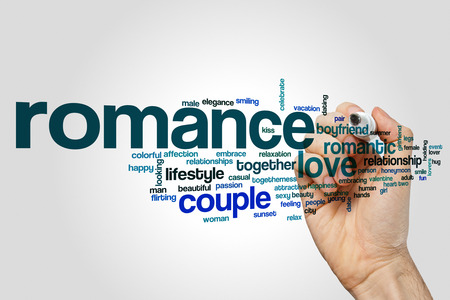 young love: Romance word cloud Stock Photo