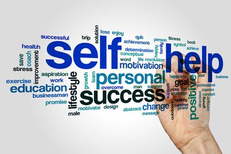 self help: Self help word cloud Stock Photo