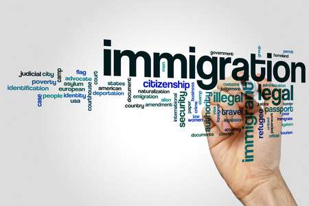 illegal alien: Immigration word cloud Stock Photo