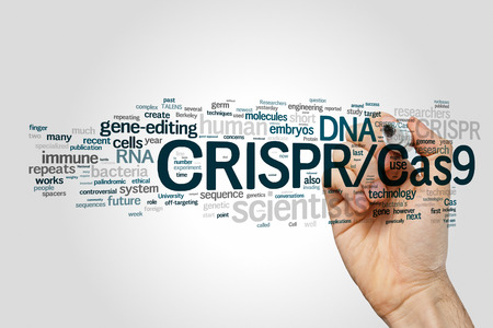 genomes: CRISPRCas9 system for editing, regulating and targeting genomes (biotechnology and genetic engineering) word cloud Stock Photo
