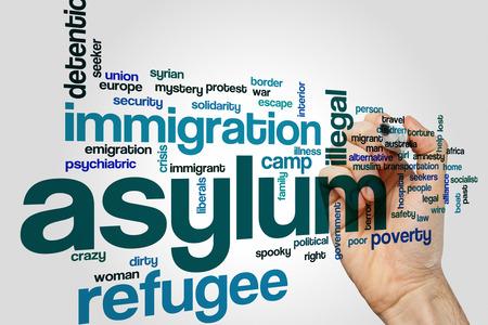 Asylum word cloud Stock Photo