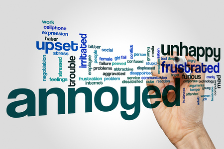 frustrate: Annoyed word cloud Stock Photo