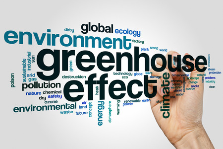 greenhouse and ecology: Greenhouse effect word cloud Stock Photo