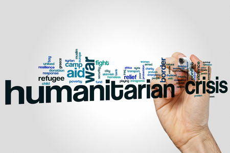 poverty relief: Humanitarian crisis word cloud Stock Photo