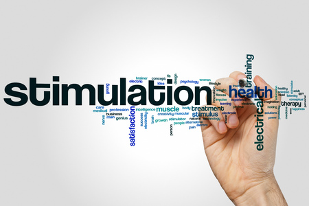 stimulation: Stimulation word cloud concept Stock Photo
