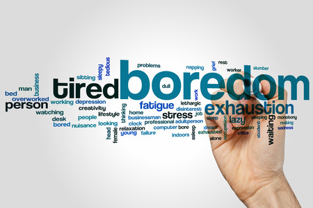 exhaustion: Boredom word cloud concept with exhaustion stress related tags
