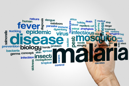 disease control: Malaria word cloud concept Stock Photo