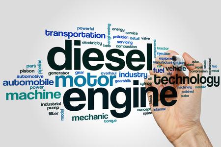 Dieselmotor word cloud concept met motor machine gerelateerde tags Stockfoto