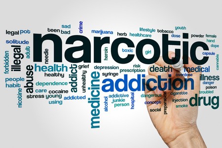 narcotic: Narcotic word cloud concept with addiction drug related tags