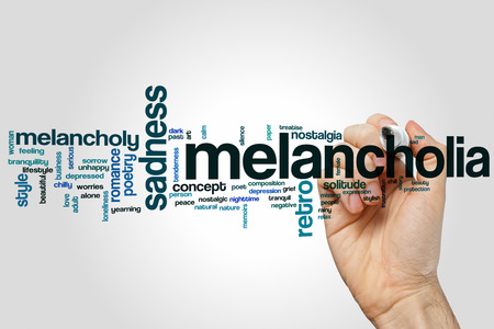 melancholia: Melancholia word cloud concept with sad poet related tags Stock Photo