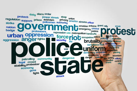 police state: Police state concept word cloud background Stock Photo